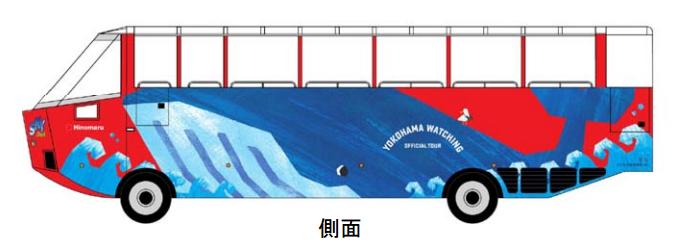 横浜みなとみらい水陸両用バスのデザイン 側面