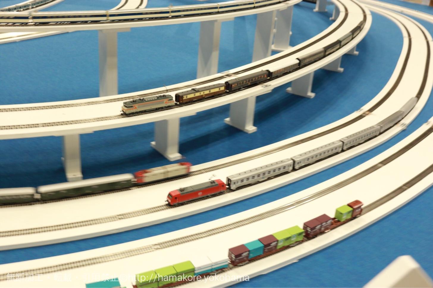ジオラマ上の電車のすれ違い