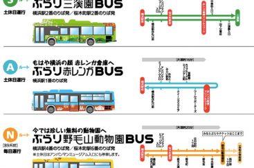 ぶらり観光SAN路線がはじまる!3色バスで横浜みなとみらいをお得に観光