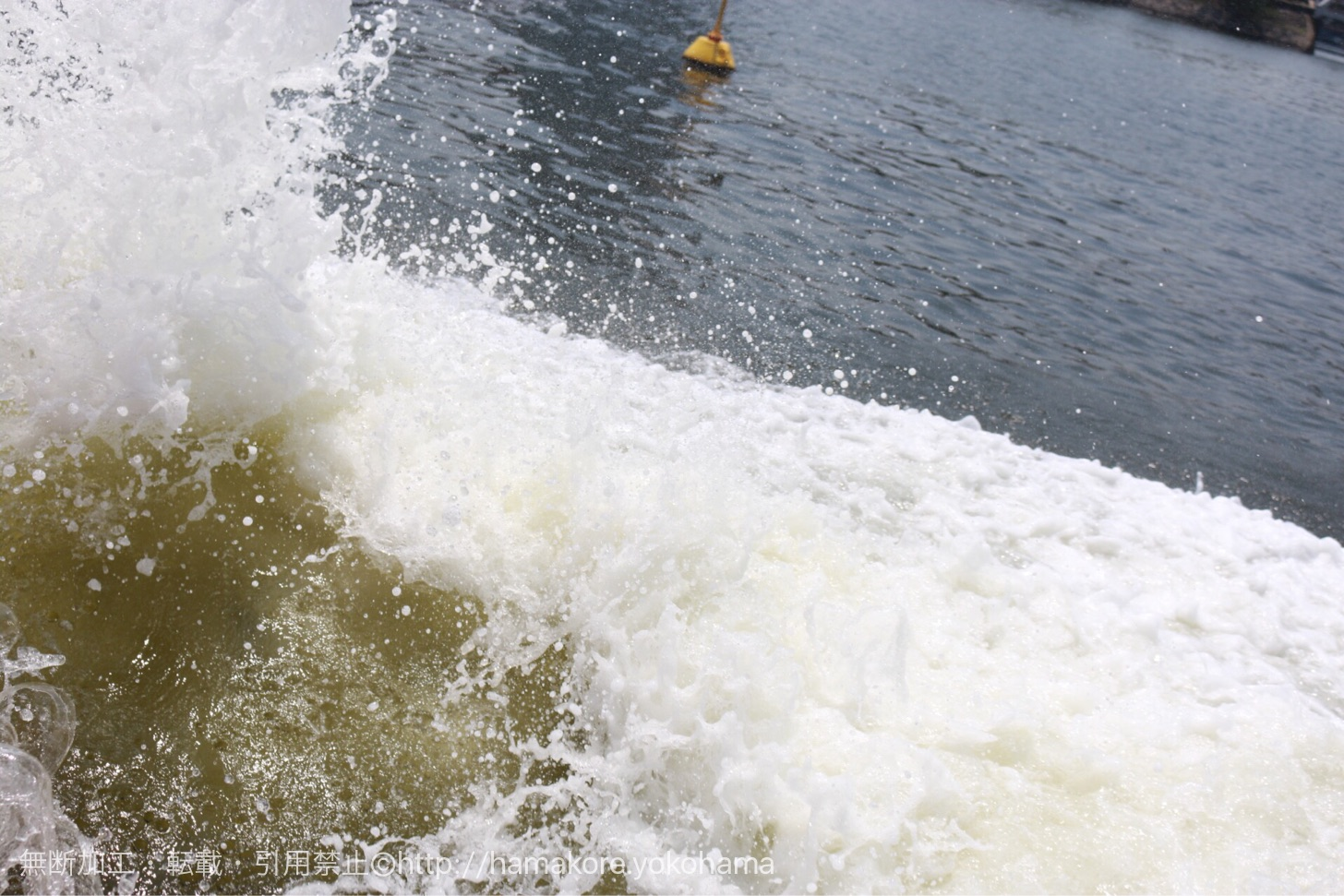 水陸両用バス「スカイダック」が海に飛び込んだときの水しぶきの様子