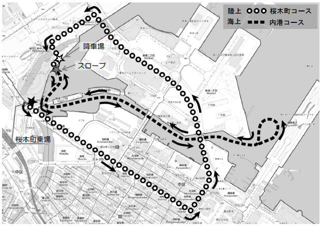 水陸両用バス 運行コース