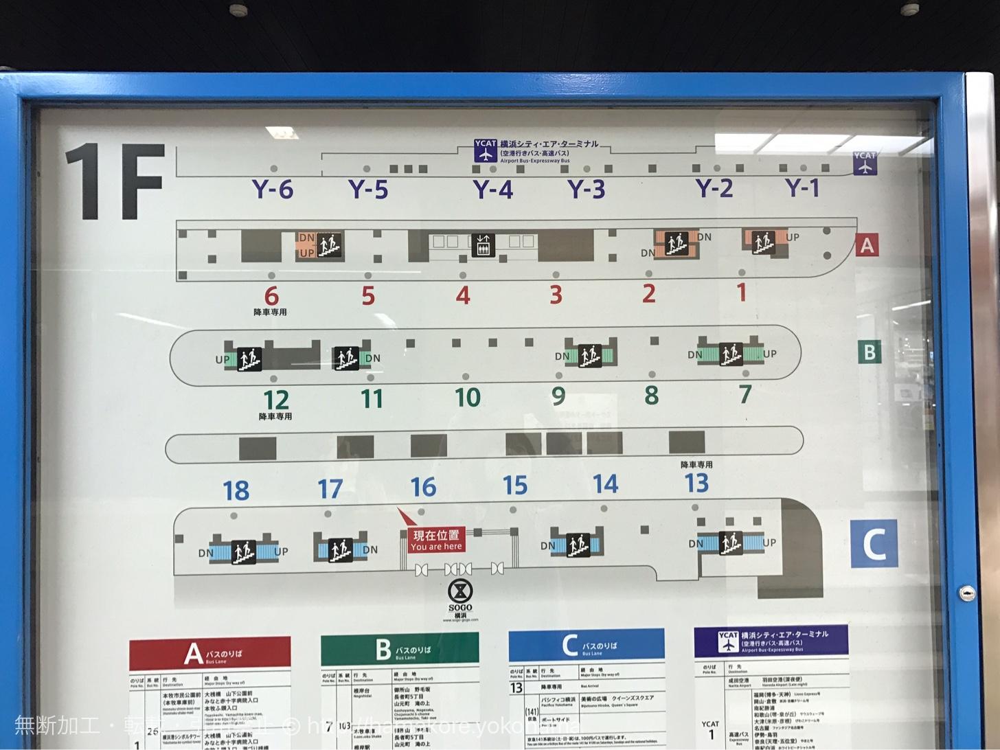横浜駅東口のバスターミナルの全体図