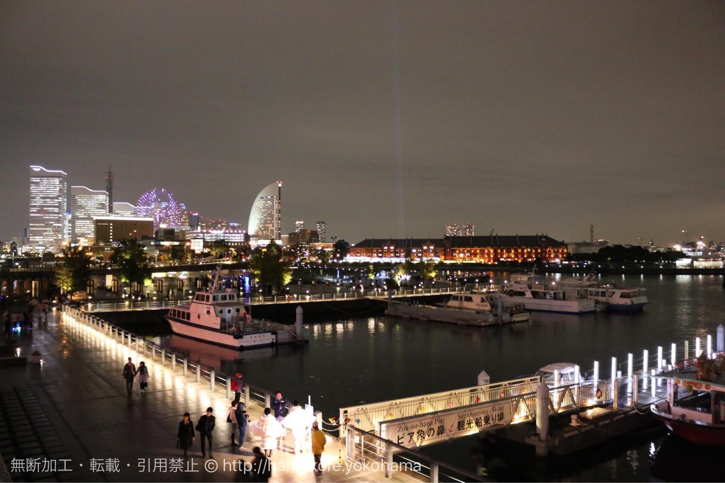 スマートイルミネーション開催中の横浜みなとみらいの夜景