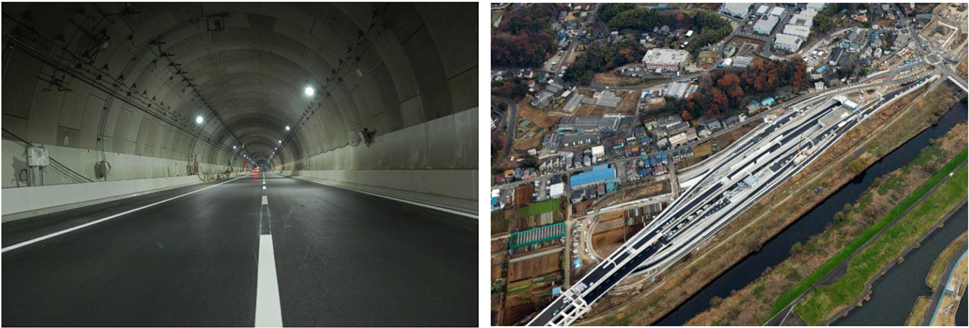 写真左:横浜北トンネル 写真右:新横浜出入口