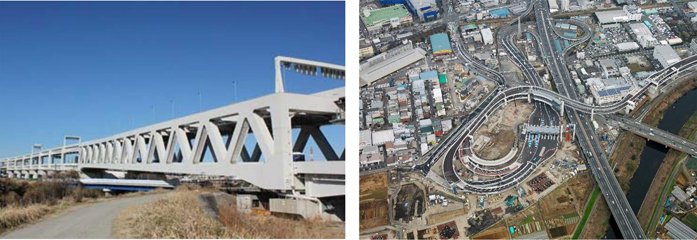 写真左:大熊川トラス橋 写真右:横浜港北ジャンクション