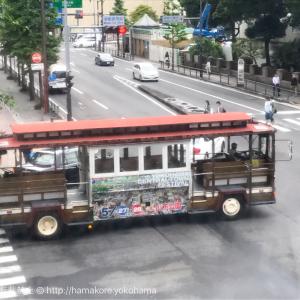横浜でレトロバス「ワイキキトロリーバス」を偶然発見・興奮!横浜セントラルタウンフェスタ限定走行