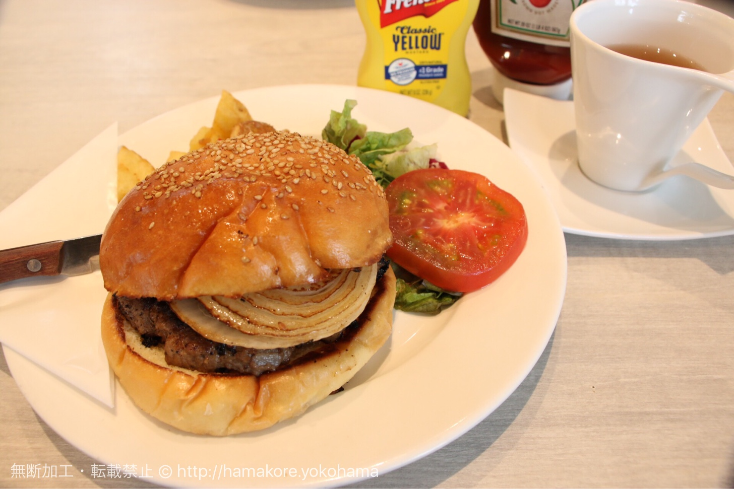 シナモンズ 横浜山下公園店 朝食のハンバーガー