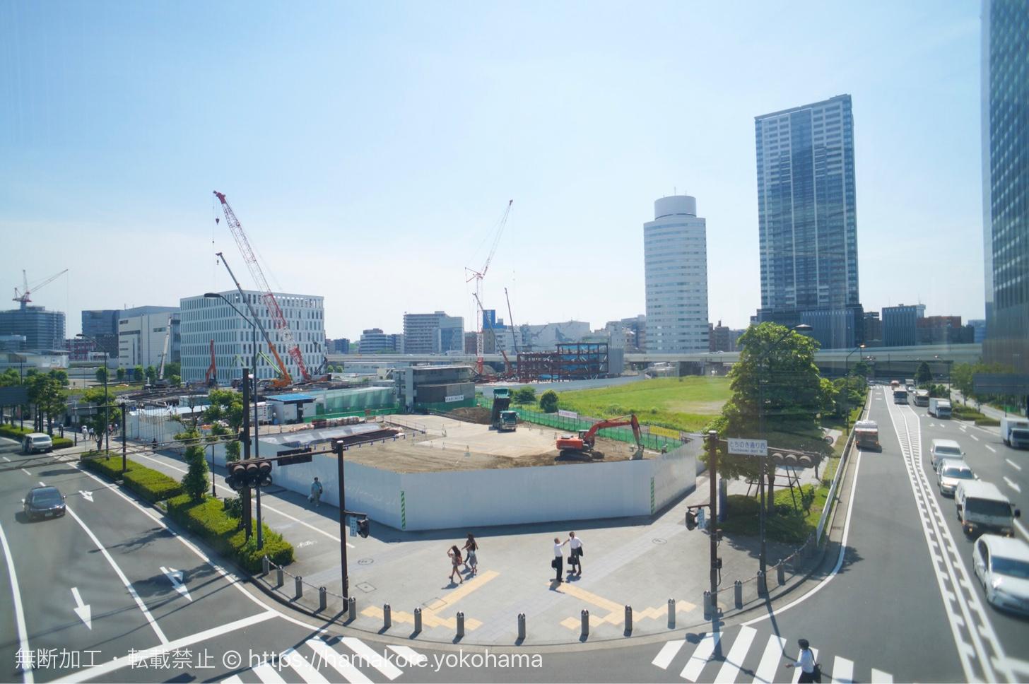 京急グループ本社ビル(仮称)予定地 歩道橋から見た様子