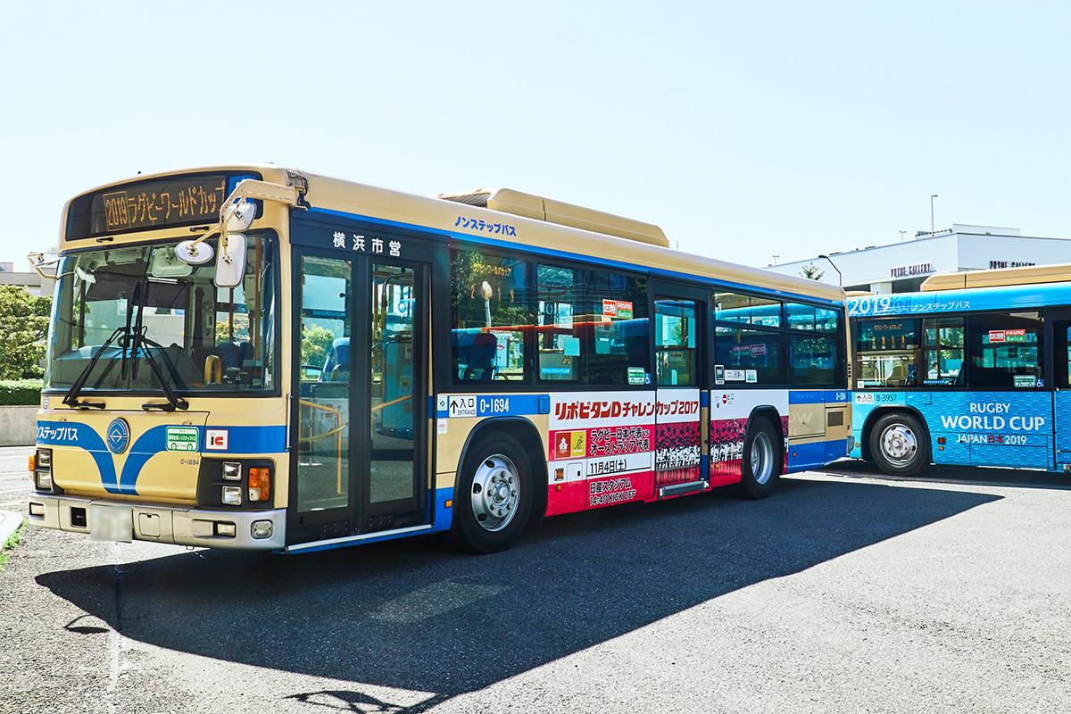 日本代表応援ラッピングバス