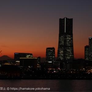 幸運!大さん橋から見た富士山がみなとみらいの景観に入って綺麗すぎ