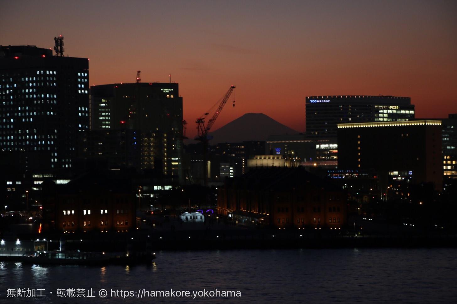 富士山と横浜赤レンガ倉庫