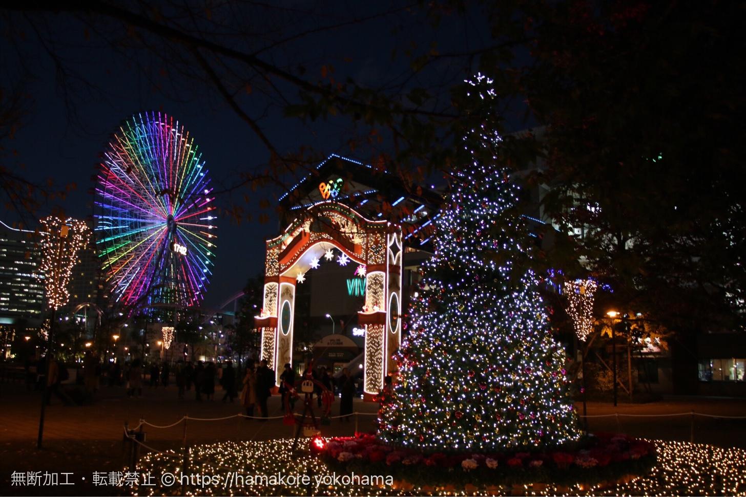 2017年 横浜ワールドポーターズでクリスマスイルミネーション開催中!横浜赤レンガとセットで