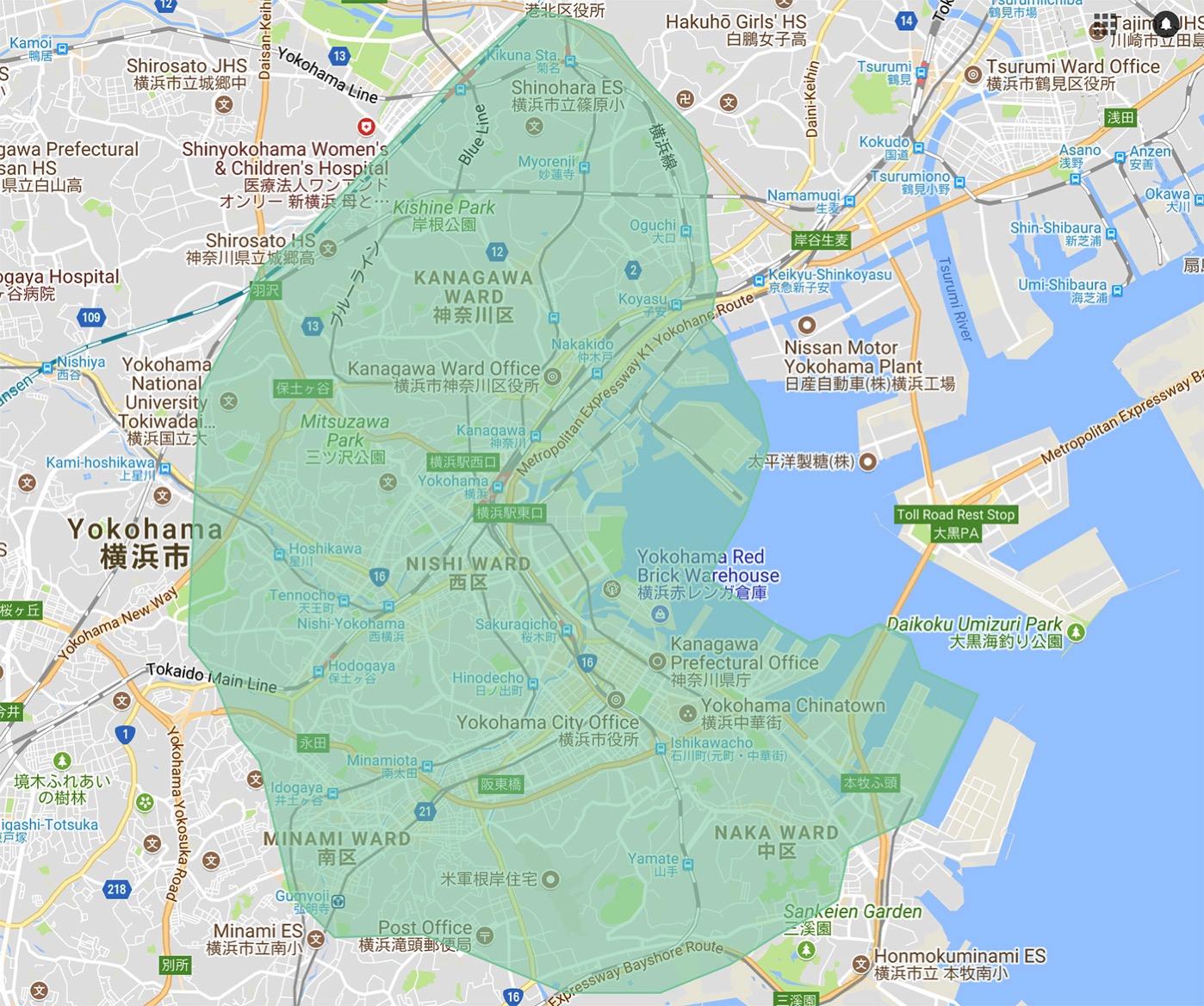 Uber Eats 横浜 サービスエリアマップ