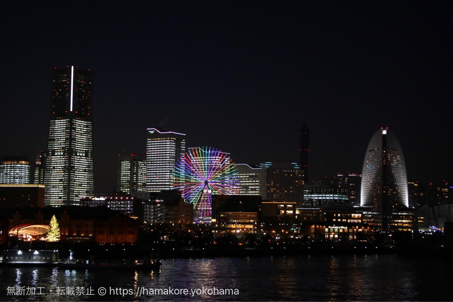 大さん橋から見た夜のTOWERS Milight