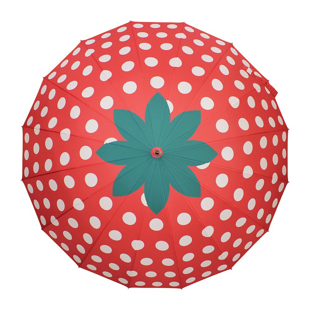 和柄テキスタイル 16本傘-いちご