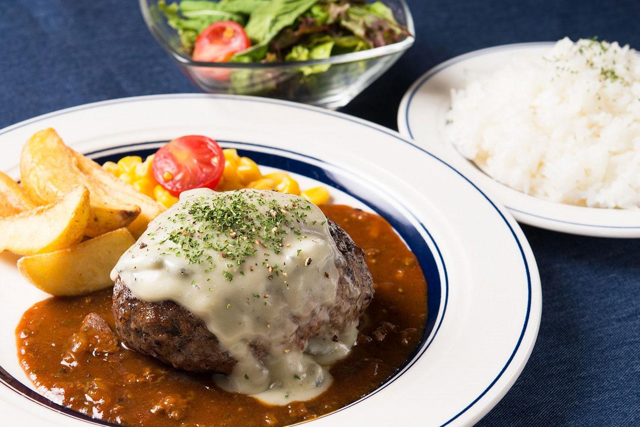 熟成牛ゴルゴンゾーラチーズハンバーグランチ(ライス・サラダ付):1,580円(+税)