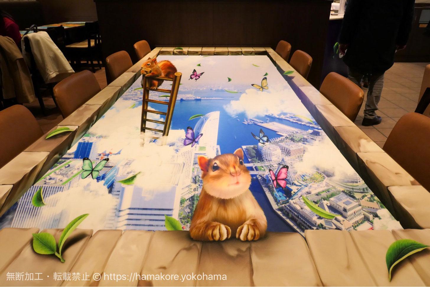 チャタイム MARK IS みなとみらい店 3Dアートのテーブル