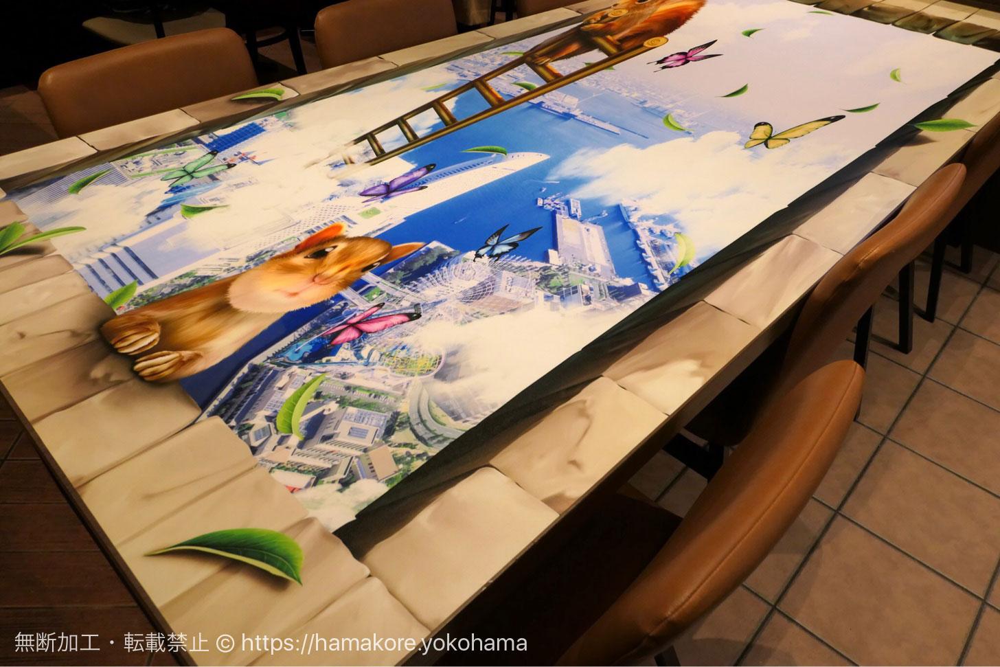 チャタイム MARK IS みなとみらい店 3Dアートのテーブル 別の角度