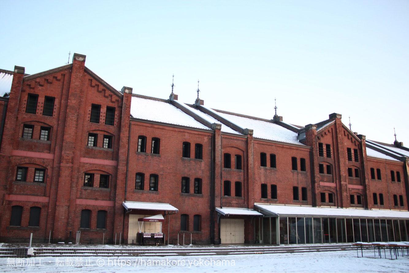 雪化粧した横浜赤レンガ倉庫