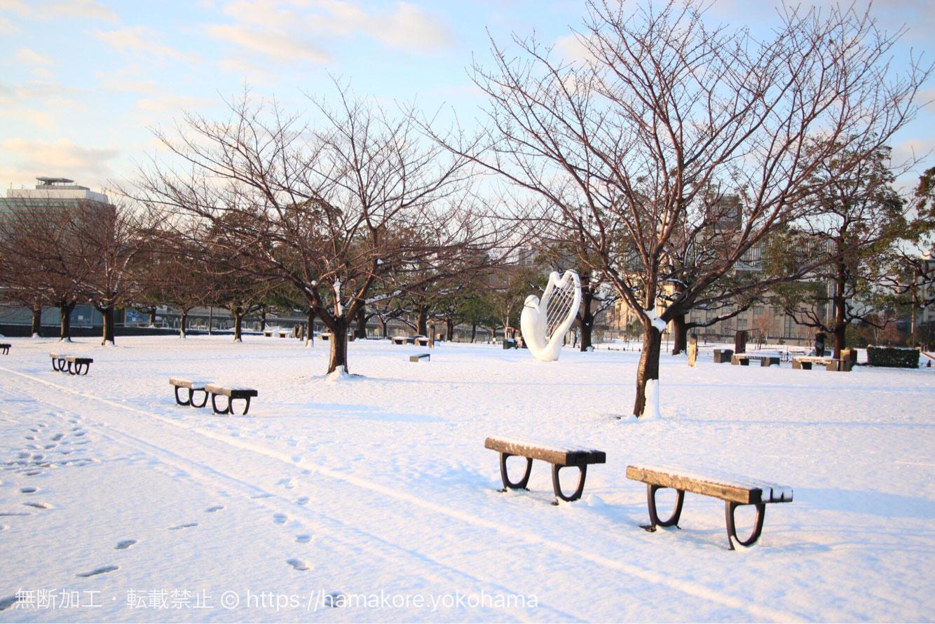 みなとみらいの雪景色