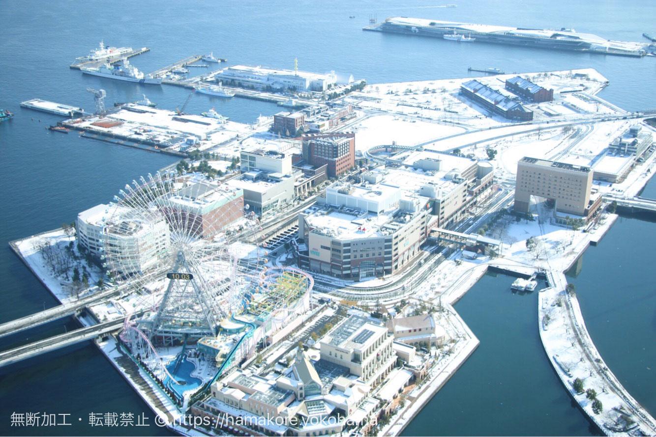 横浜ランドマークタワーから見る希少な雪景色!上から見た白銀の世界