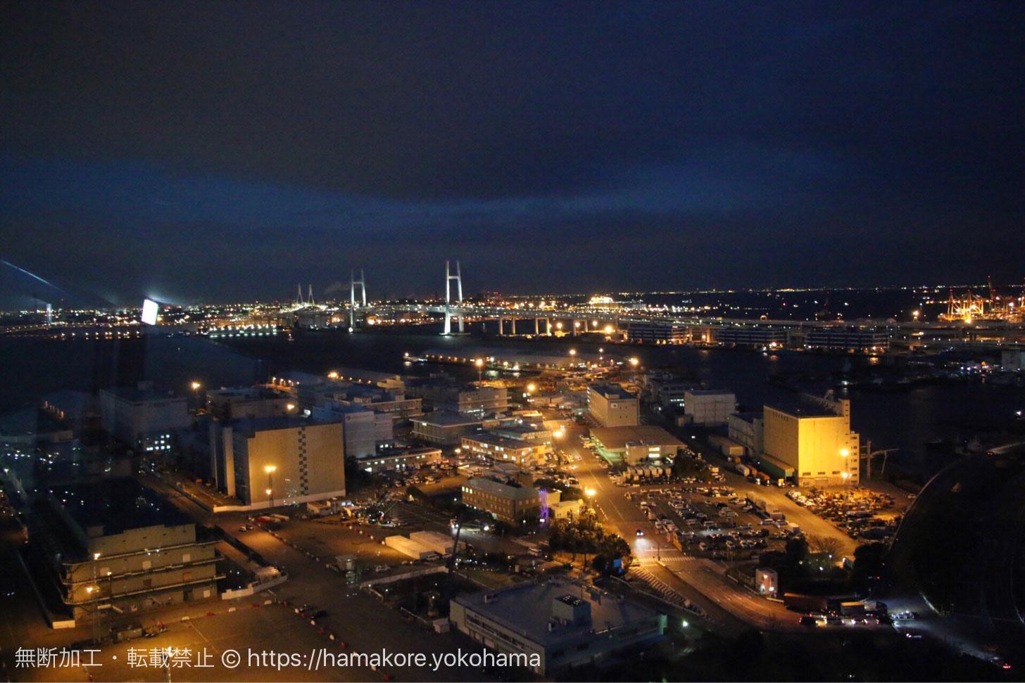 横浜マリンタワーから見た夜景 横浜ベイブリッジ側