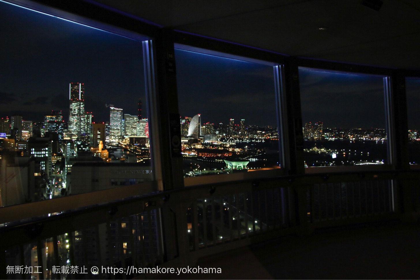 横浜マリンタワーから見た夜景 展望フロアから見えるみなとみらい