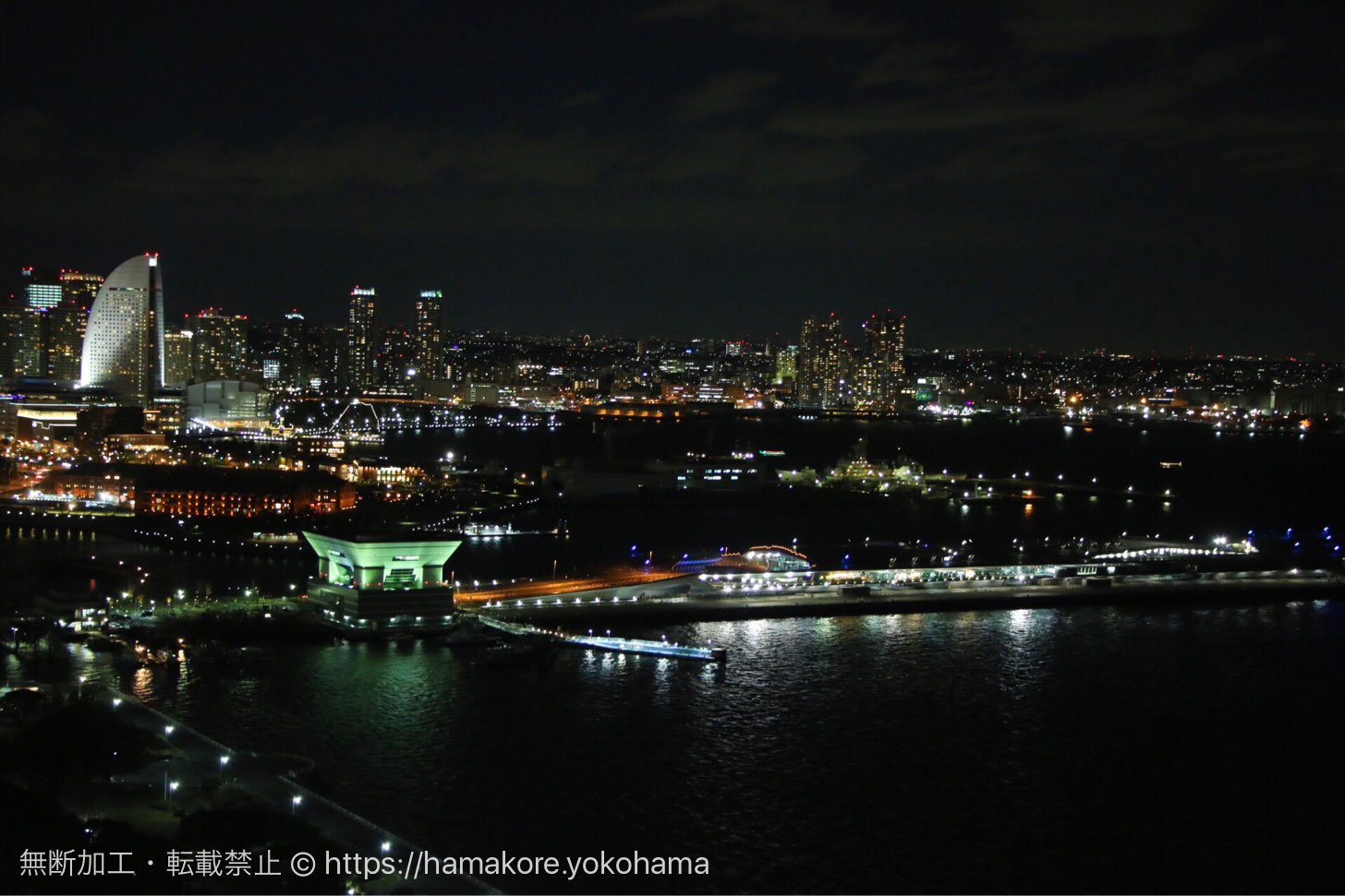 横浜マリンタワーから見た夜景 大さん橋側