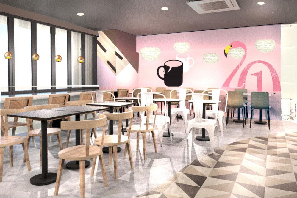 ピンクがかわいい32席のカフェ