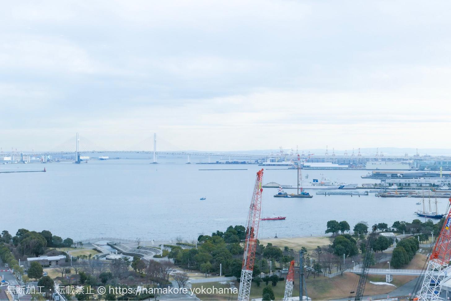 オリエンタルビーチみなとみらいから見た横浜港