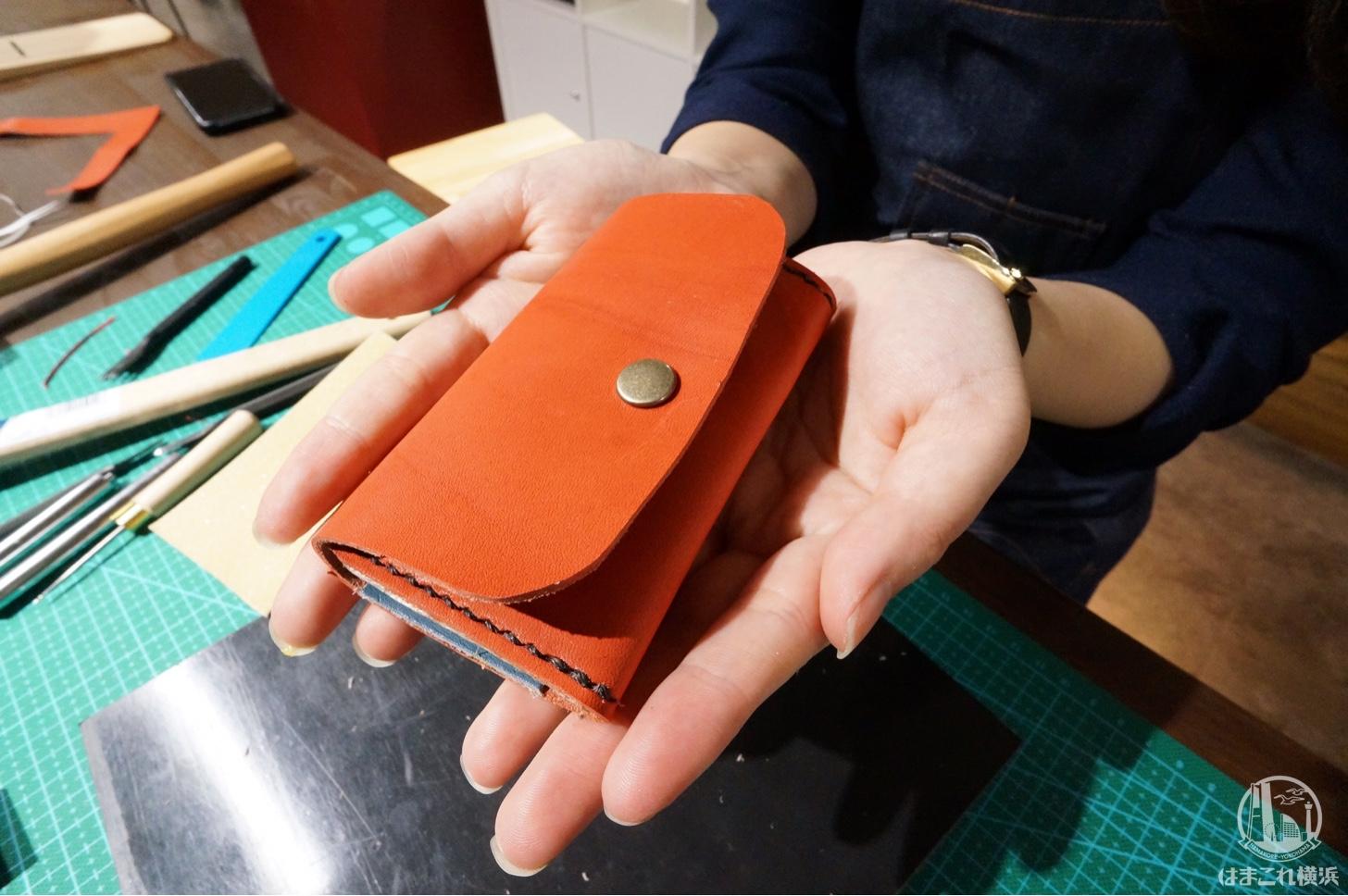 栃木レザーのキーケース ワークショップの完成品