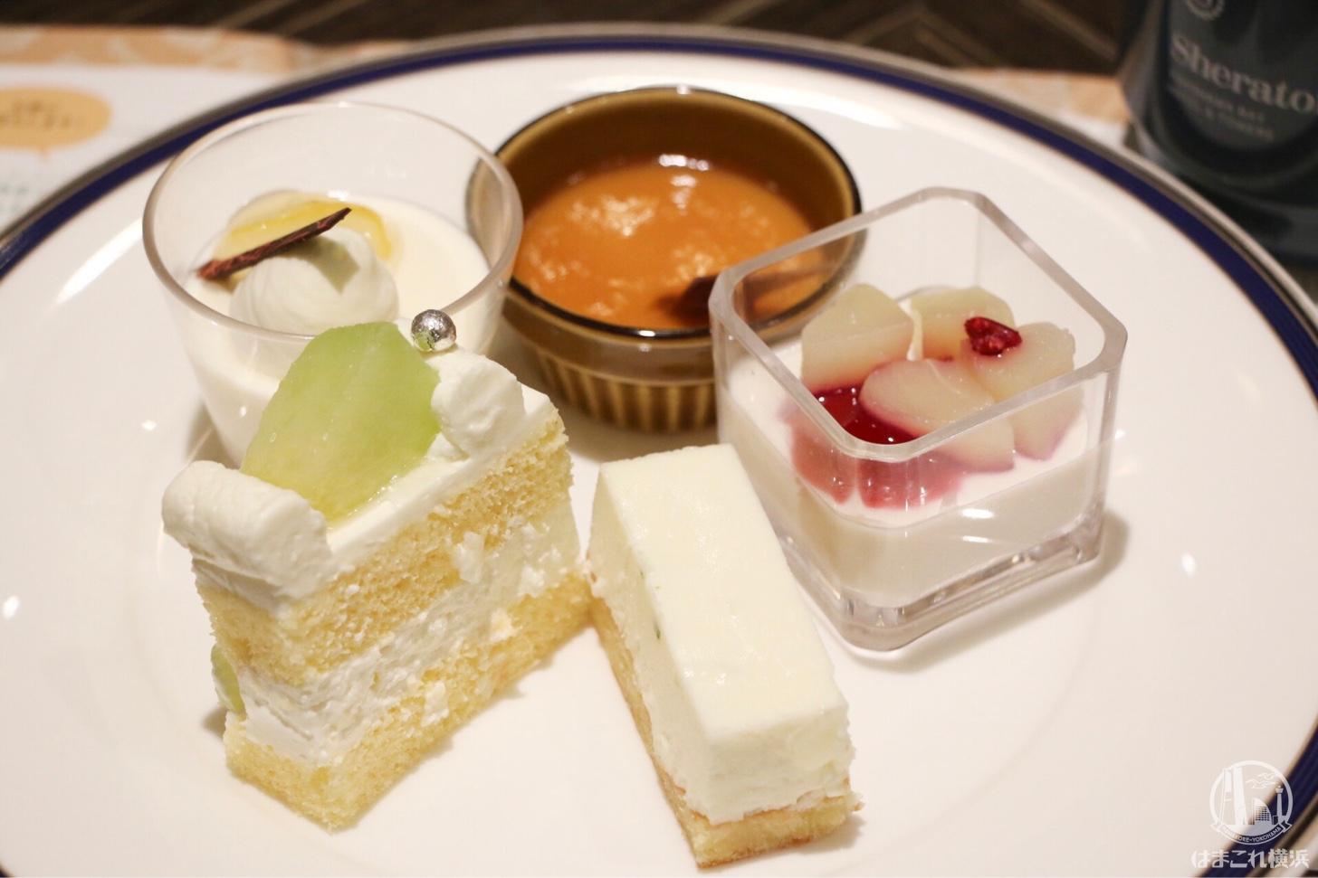 熊本メロンのショートケーキ・大分県産カボス風味 ホワイトチョコレートムース・豆乳パンナコッタ 大分県産カトレア醤油ソースなど