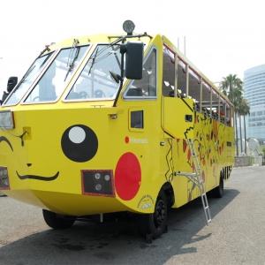 2018年 横浜で水陸両用バスがピカチュウラッピングで運行開始!ピカチュウ大量発生