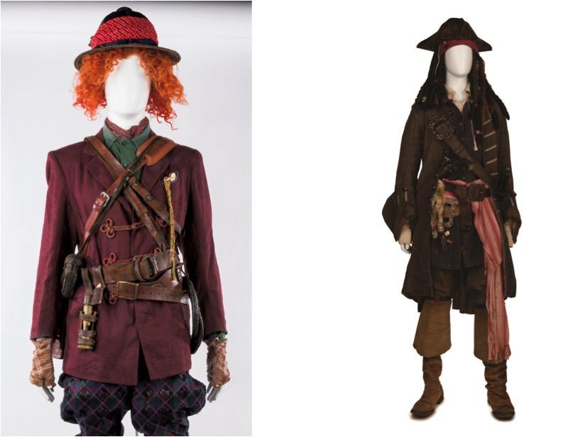 『アリス・イン・ワンダーランド/時間の旅』(左) 『パイレーツ・オブ・カリビアン/最後の海賊』(右) ジョニー・デップのアイディアが詰まった衣裳と小道具 ©Disney