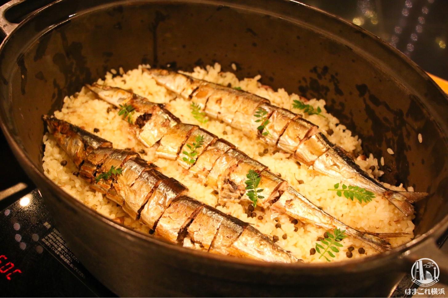 オホーツク産 道山さんの秋刀魚の糠漬けと千葉さんの山わさびのピラフ