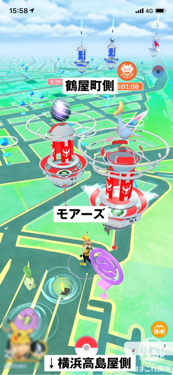 横浜駅西口 横浜モアーズ前のジム・ポケストップ