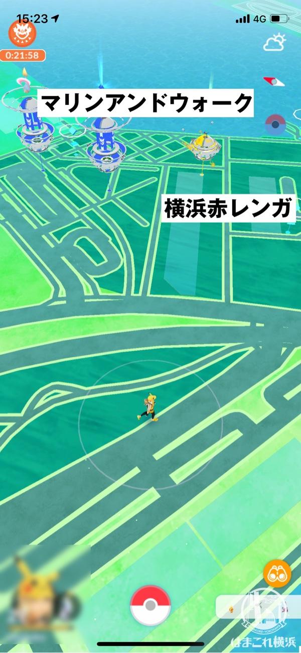 横浜赤レンガ倉庫のジムとポケストップ