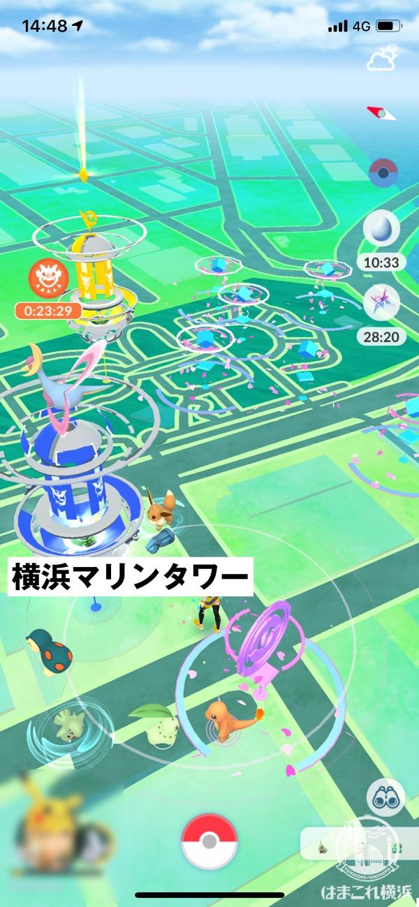 コミュニティ・デイ開催当日の山下公園の世界の広場(ドン・キホーテ側)のポケストップ