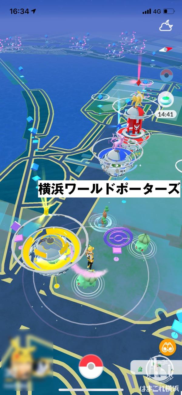 コミュニティ・デイ開催当日のみなとみらい 横浜ワールドポーターズのポケストップ