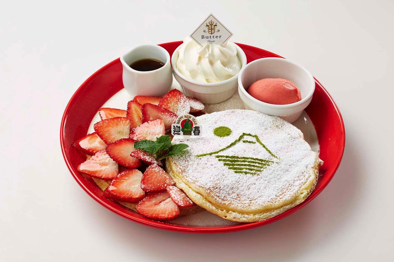 フレッシュ苺の紅白パンケーキ