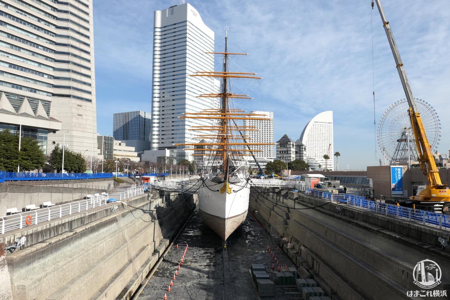 帆船日本丸を支えるブロック