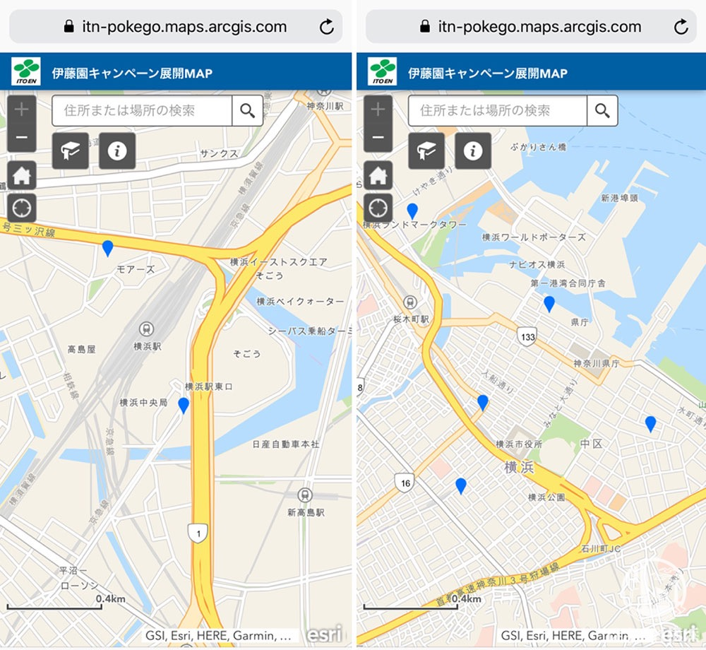 伊藤園 自販機マップ 横浜エリア