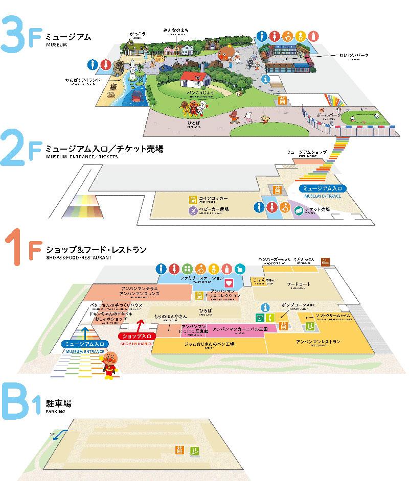 横浜アンパンマンこどもミュージアム フロア構成