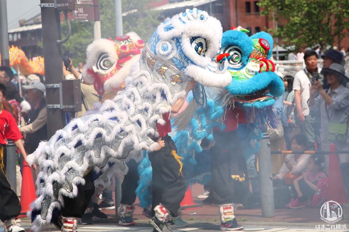 国際仮装行列「ザ よこはまパレード」獅子舞・爆竹