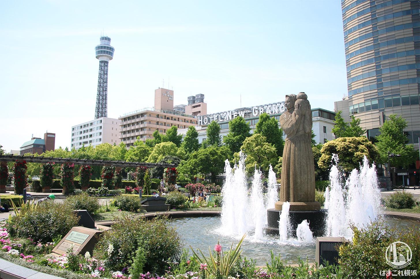 山下公園 噴水と横浜マリンタワー