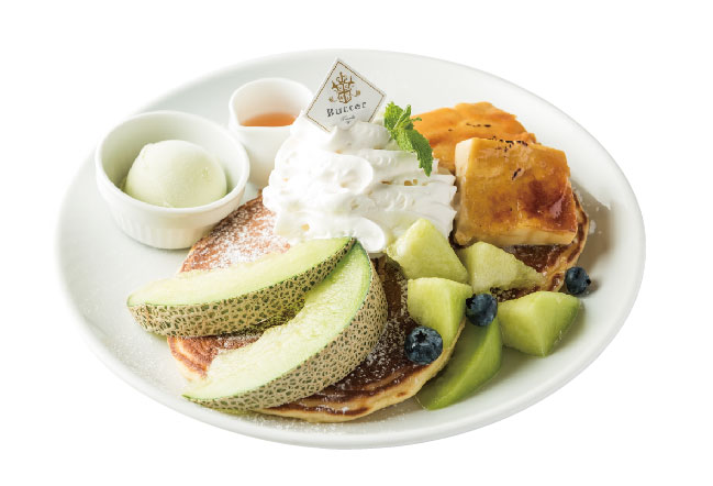 ほこたメロンとクレームブリュレのパンケーキ ~メロンソース&メロンシャーベット添え~