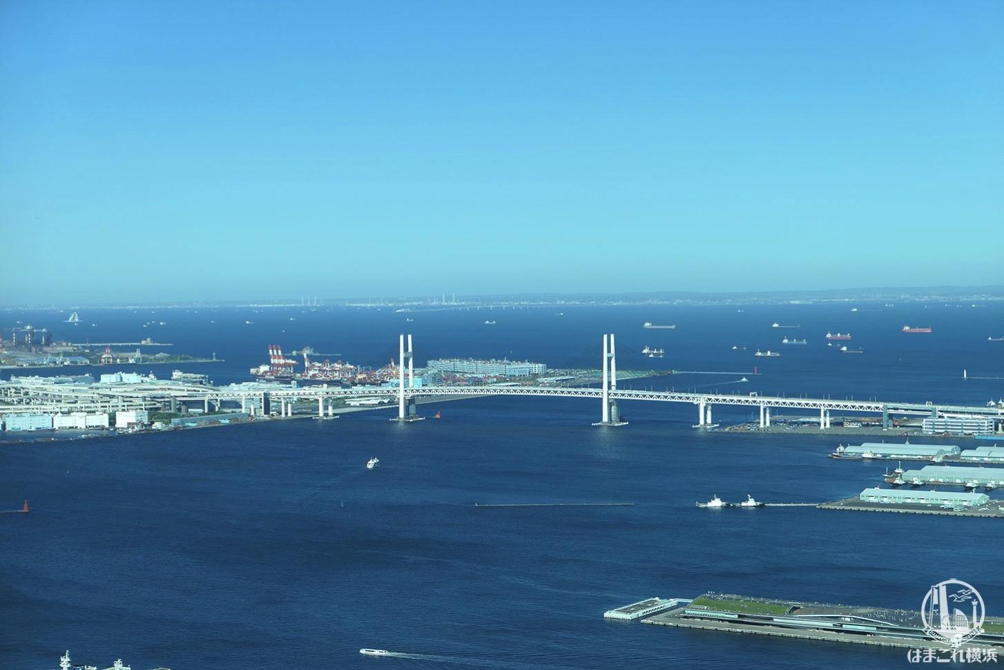 展望フロア「スカイガーデン」から見た横浜ベイブリッジ