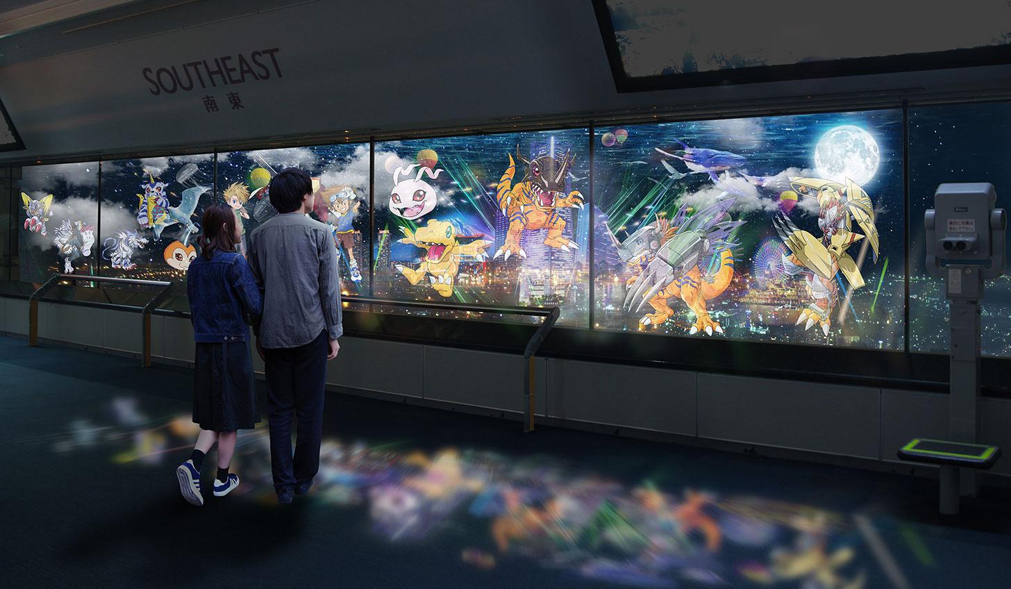横浜ランドマークタワーで夜景とコラボのデジモンマッピング投影!