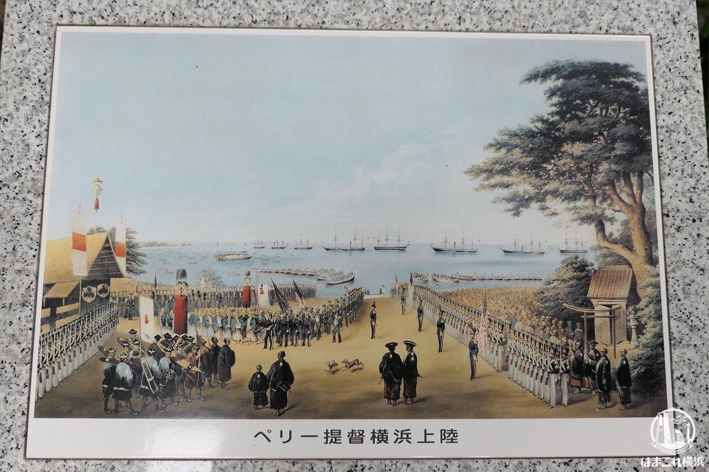 ペリー提督横浜上陸の絵に描かれるたまくすの木