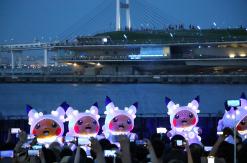 2019年 海×ピカチュウ、横浜赤レンガ倉庫で海と夜景をバックに噴水ショー披露!